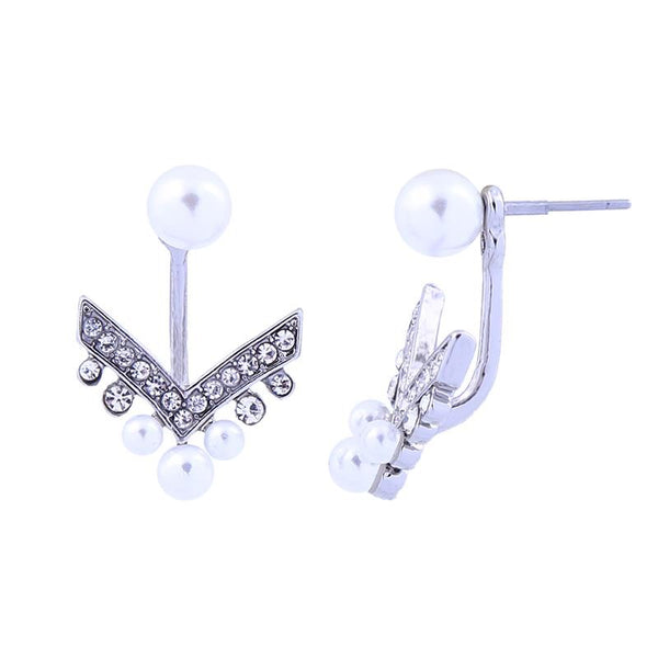 Last True Angel Pearl & Crystal Chevron Ear Jacket Silver Earrings