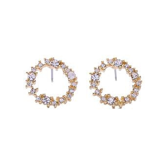 Last True Angel Crystal Circle Earrings Gold