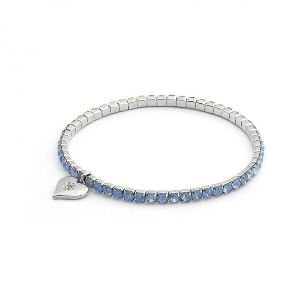 Lovett & Co Diamante Stretch Bracelet in Blue Opal