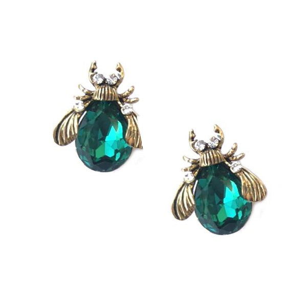 Last True Angel Emerald Green Bee Earrings