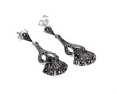 London Vintage Nouveau Marcasite Drop Earrings