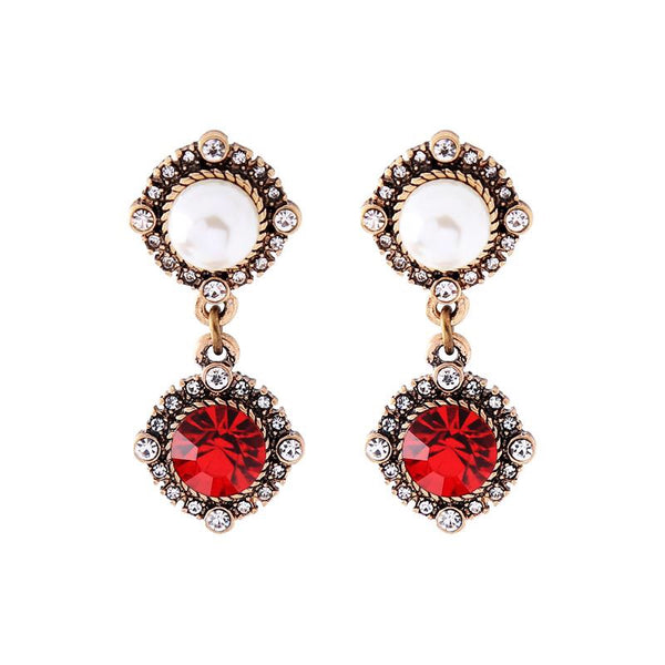 Last True Angel Pearl & Ruby Red Drop Earrings