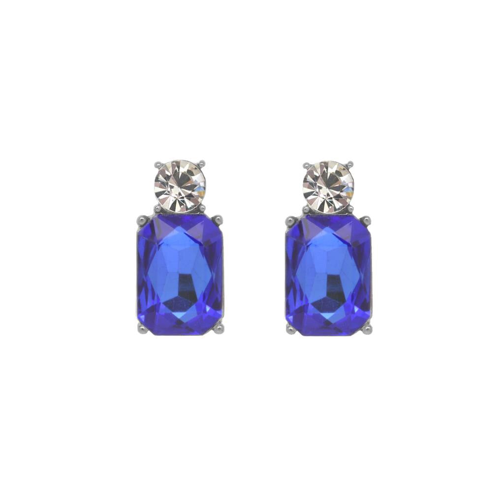 Last True Angel Royal Blue and Clear Crystal Gem Stud Earrings
