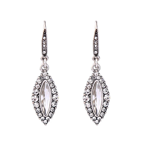 Last True Angel Crystal Silver Oval Drop Earrings