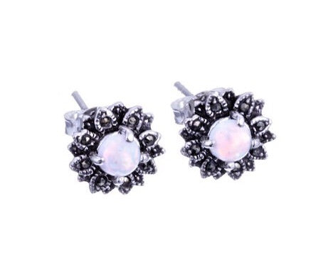 London Vintage Marcasite and Opal Small Flower Stud Earrings