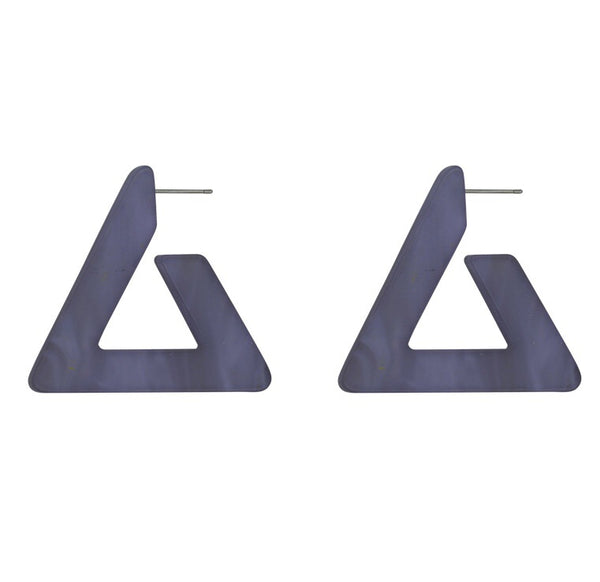 Big Metal London Blue Matte Large Triangle Earrings
