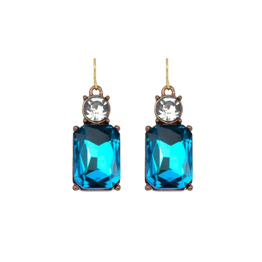 Last True Angel Turquoise and Clear Gem Earrings