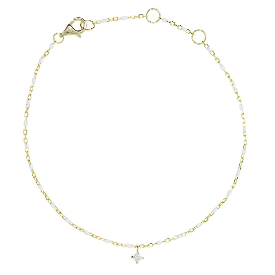 Penny Levi White and Gold Chain CZ Bracelet