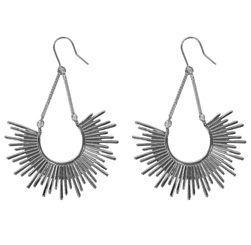 Big Metal London Statement Sun Drop Earrings