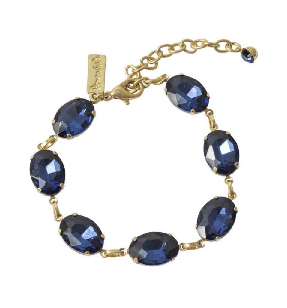 Lovett & Co Oval Stone Bracelet in Navy Blue
