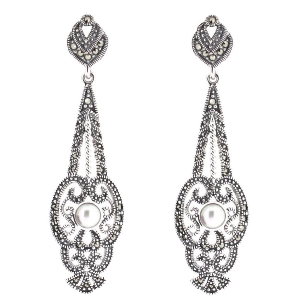 Chicago Art Deco Freshwater Pearl Drop Earrings