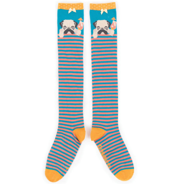 Powder Knee High Cocktail Pug Socks