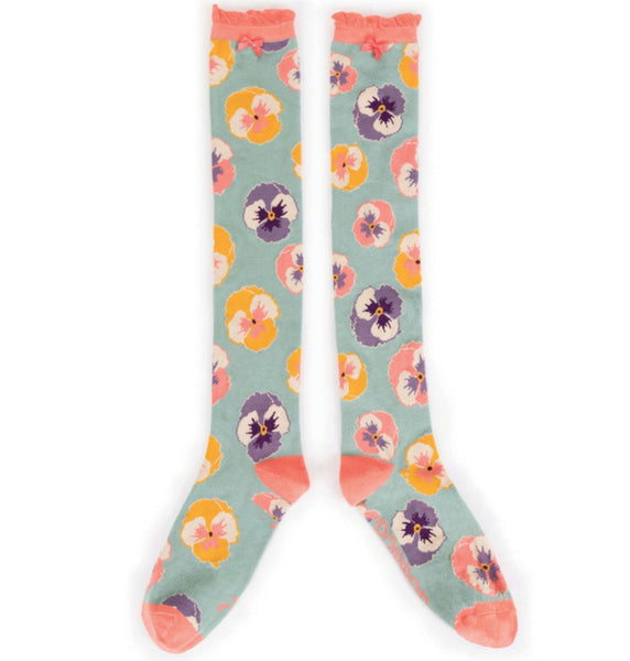 Powder Knee High Pansy Socks