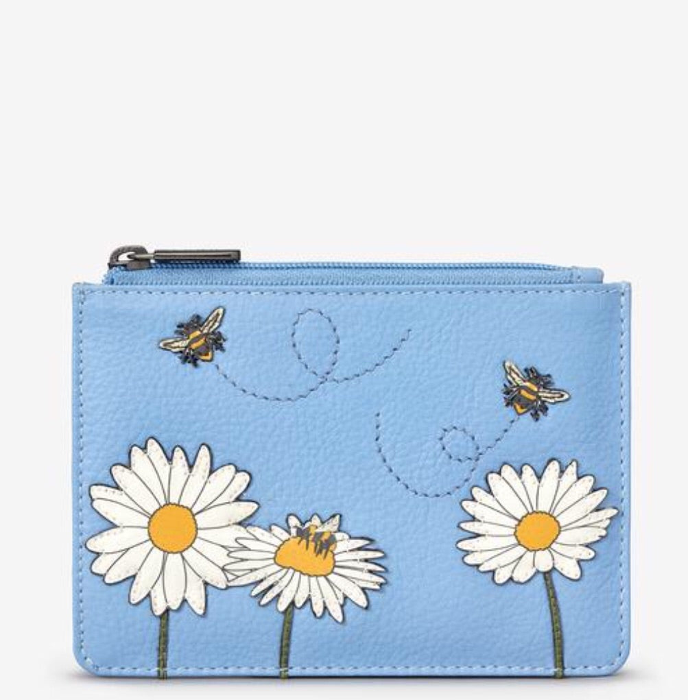 Yoshi Bee Happy Blue and Daisy Leather Coin Purse