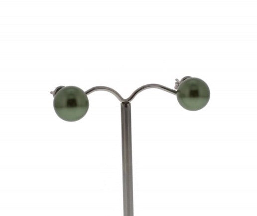 Nour London Khaki Green Pearl Stud Earrings