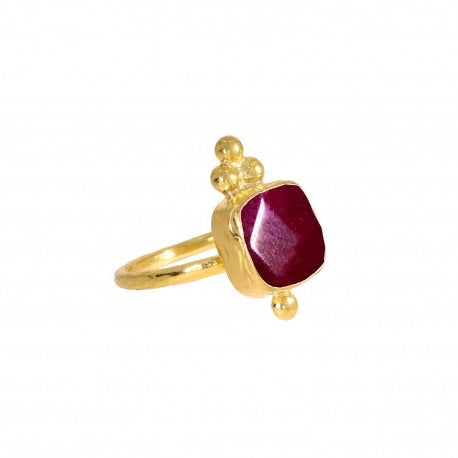 Ottoman Hands Red Agate Square Triple Bead Cocktail Ring