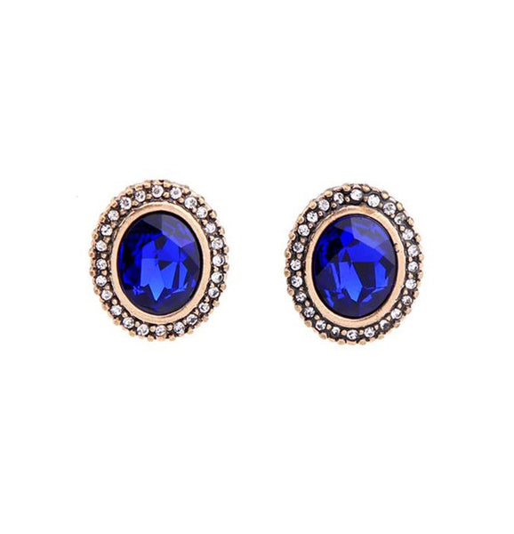 Last True Angel Sapphire Blue Oval Stud Earrings