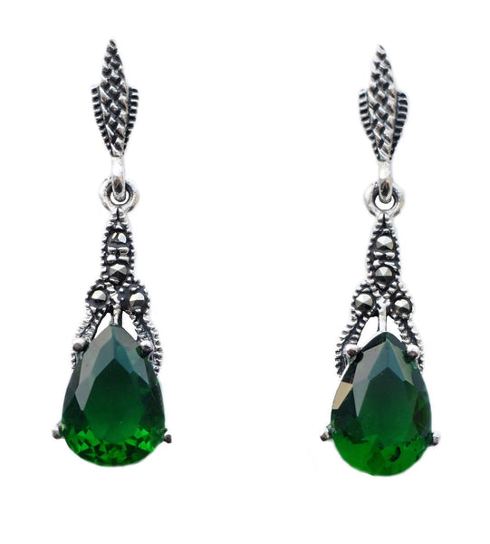 London Vintage Emerald Marcasite Drop Earrings