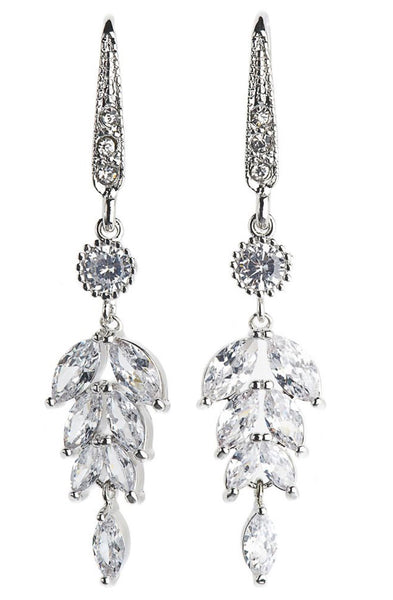 Rosie Fox Silver Crystal Leaf Earrings
