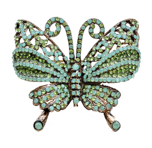 Rosie Fox Green Butterfly Brooch and Hair Slide