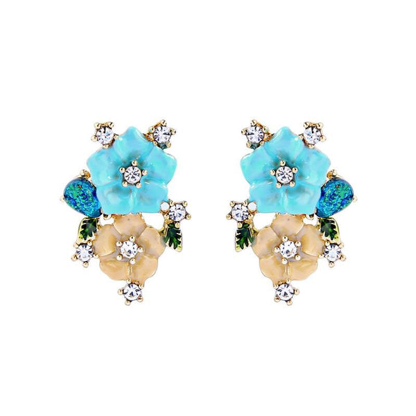 Last True Angel Enamel Turquoise Flower Studs