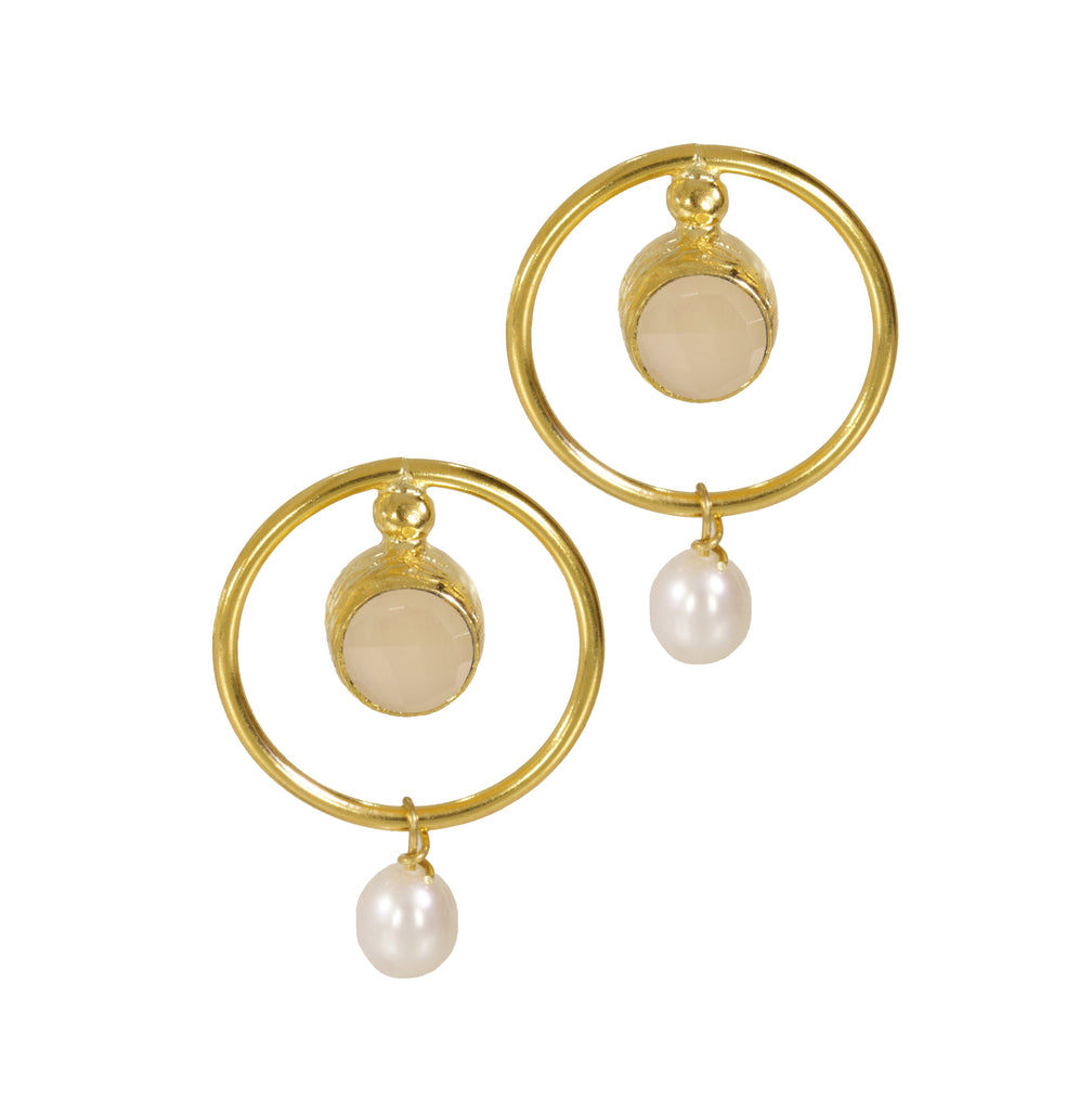 Ottoman Hands White Chalcedony and Pearl Deco Circle Earrings