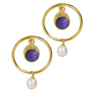 Ottoman Hands Lapis Lazuli and Pearl Deco Circle Earrings