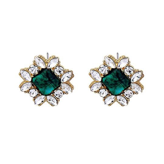 Last True Angel Emerald Green Square Gem & Crystal Earrings