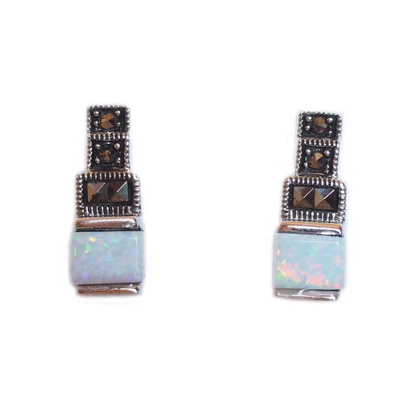 London Vintage Square Opal & Marcasite Stud Earrings