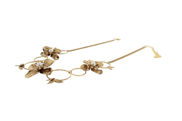 Nour London Floral Circle Gold Necklace