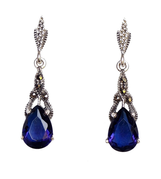London Vintage Sapphire Marcasite Drop Earrings