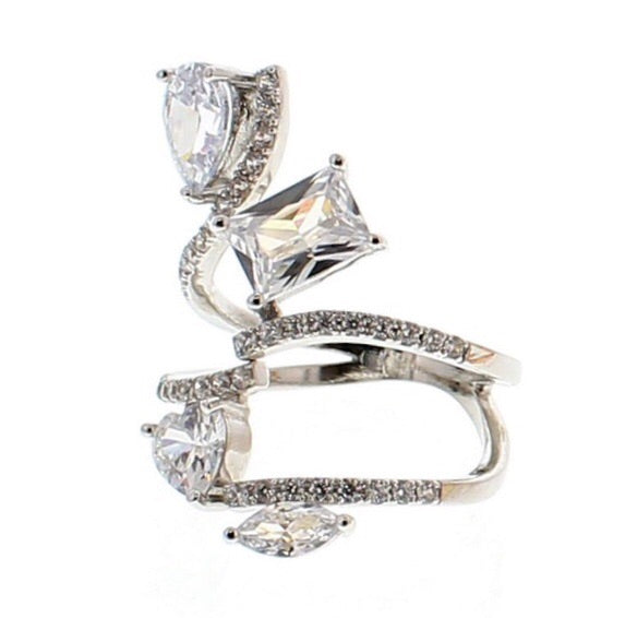 Nour London Silver Adjustable CZ Crystal Ring