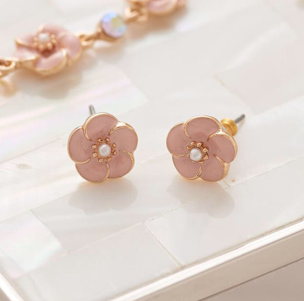 Lovett & Co Pink Rose Stud Earrings