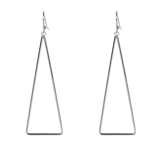 Big Metal London Long Silver Triangle Drop Earrings