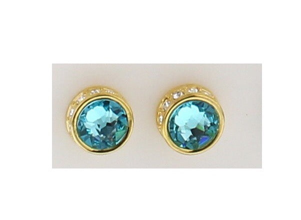 Nour London Turquoise and Gold Stud Earrings