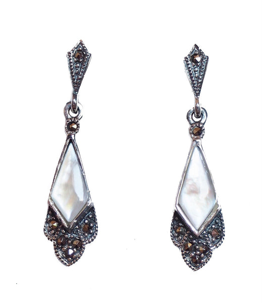 London Vintage Mother of Pearl & Marcasite Art Deco Drop Earrings