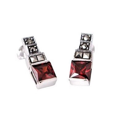 London Vintage Garnet CZ Square Stud Earrings