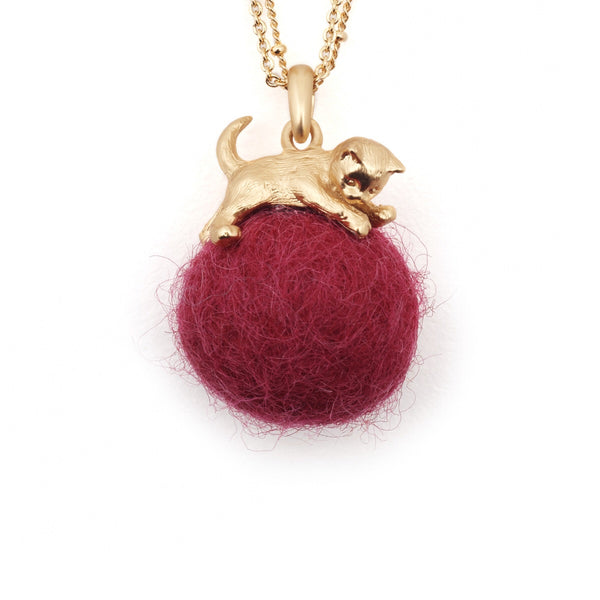 Bill Skinner Kitten with Fuchsia Wool Ball Long Pendant
