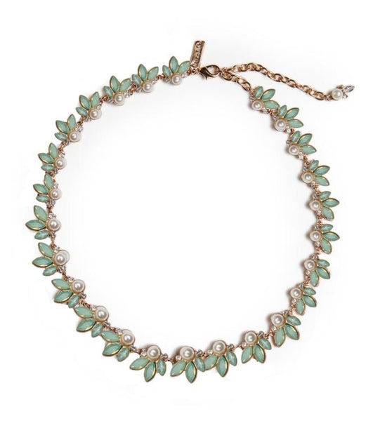 Lovett & Co Green Opal and Pearl Leaf Necklace