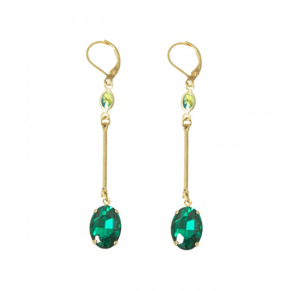 Lovett & Co Oval Stone Long Bar Drop Earring in Emerald