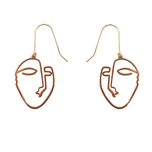 Big Metal London Gold Divna Face Earrings