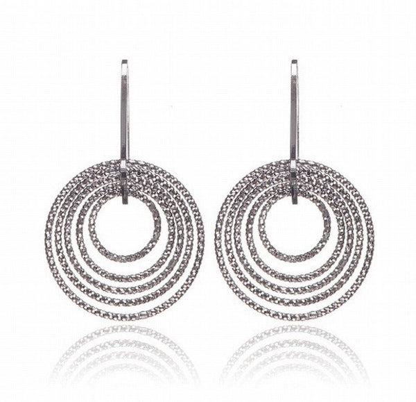 Penny Levi Diamond Cut Silver Circle Earrings