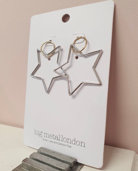 Big Metal London Two Tone Star Earrings