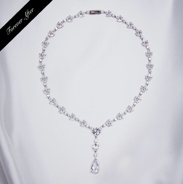 Lovett & Co Crystal Leaf Y Necklace