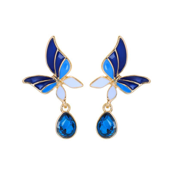 Last True Angel Blue and Turquoise Butterfly Drop Earrings