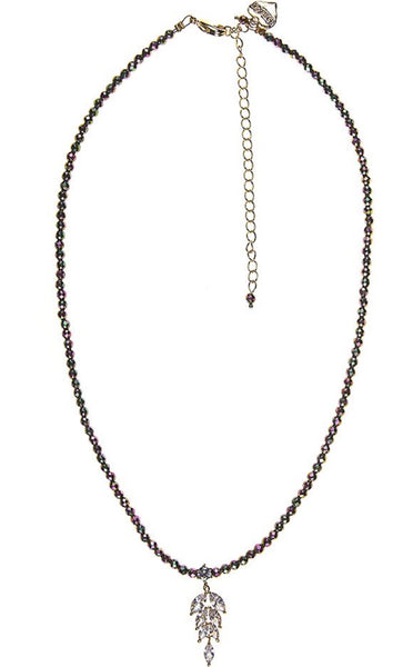 Rosie Fox Blush Pyrite Crystal Leaf Necklace