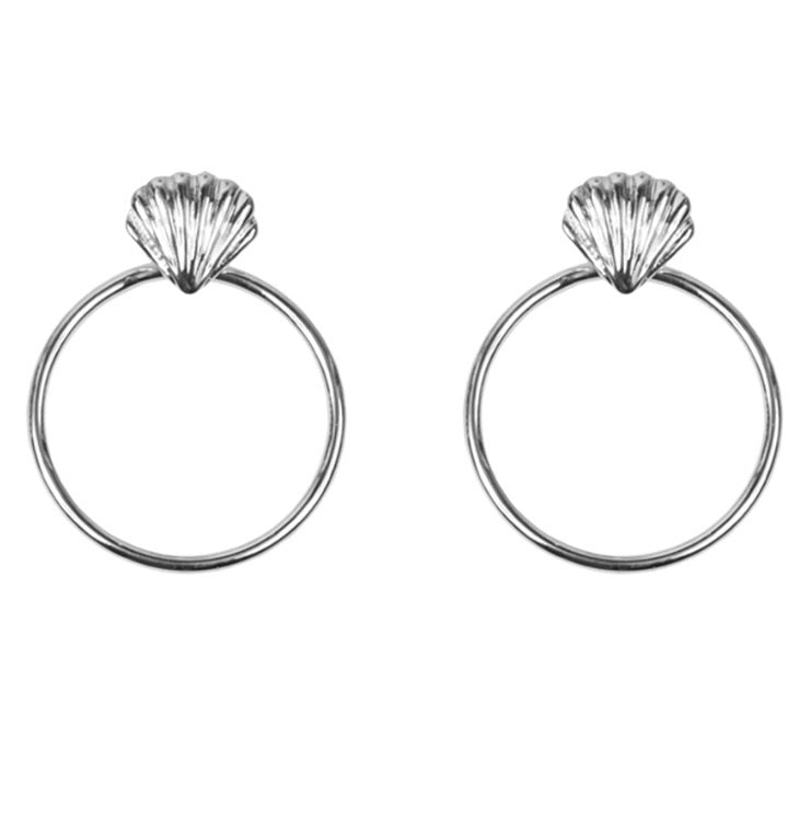 Big Metal London Silver Plated Shell Circle Earrings