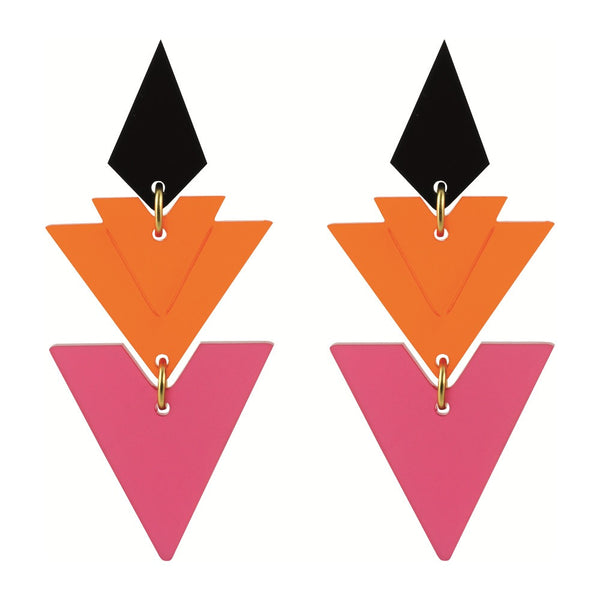 Toolally Tiered Drop Earrings in Raspberry and Mandarin