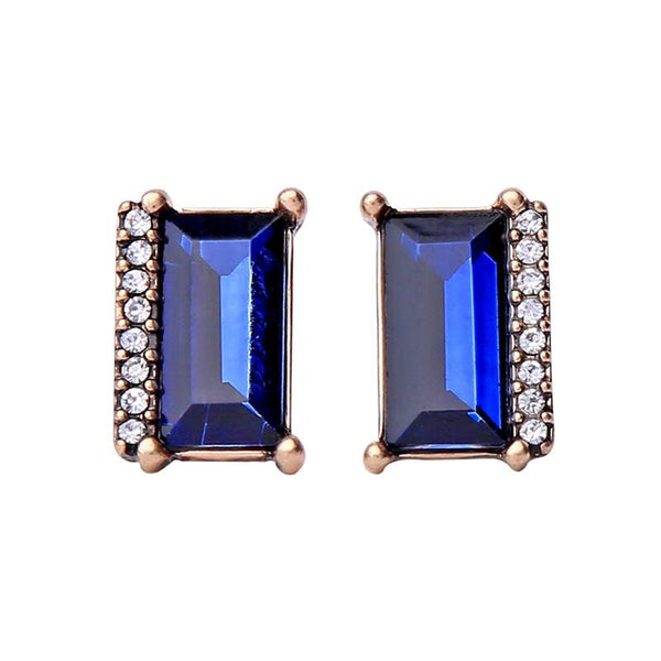 Last True Angel Midnight Blue Rectangle Stud Earrings