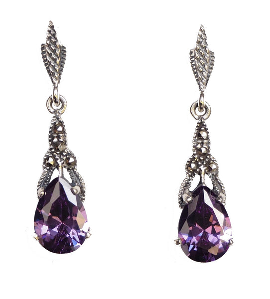 London Vintage Amethyst Marcasite Drop Earrings